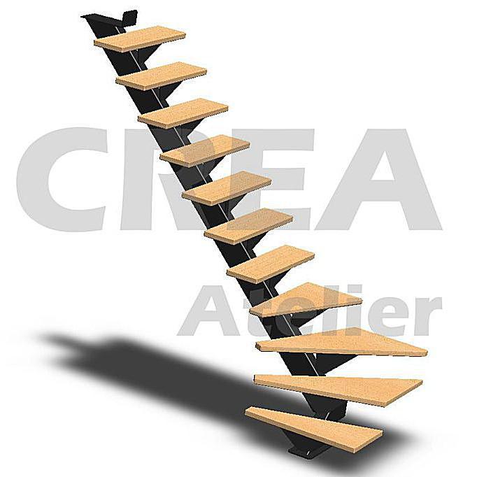 Escalier metal limon central cr a atelier - Escalier limon central acier prix ...