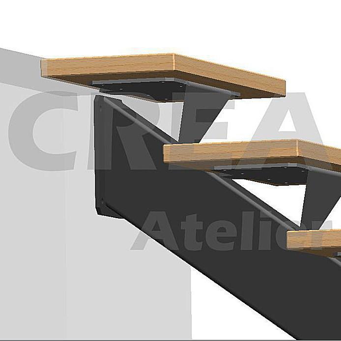 Escalier metal limon central - Créa Atelier